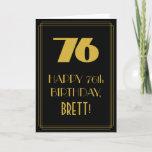 "[ Thumbnail: 76th Birthday ~ Art Deco Inspired Look ""76"" & Name Card ]"