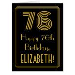"[ Thumbnail: 76th Birthday: Art Deco Inspired Look ""76"" + Name Card ]"