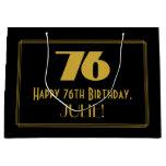 "[ Thumbnail: 76th Birthday — Art Deco Inspired Look ""76"" & Name Gift Bag ]"