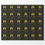"""[ Thumbnail: 76th Birthday ~ Art Deco Inspired Look """"76"""", Name Wrapping Paper ]"""