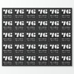 """[ Thumbnail: 76th Birthday: Art Deco Inspired Look """"76"""" & Name Wrapping Paper ]"""