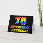[ Thumbnail: 76th Birthday: Bold, Fun, Simple, Rainbow 76 Card ]
