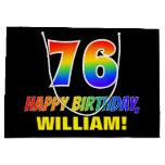 [ Thumbnail: 76th Birthday: Bold, Fun, Simple, Rainbow 76 Gift Bag ]
