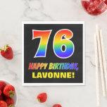 [ Thumbnail: 76th Birthday: Bold, Fun, Simple, Rainbow 76 Napkins ]