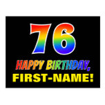 [ Thumbnail: 76th Birthday: Bold, Fun, Simple, Rainbow 76 Postcard ]