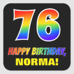 [ Thumbnail: 76th Birthday: Bold, Fun, Simple, Rainbow 76 Sticker ]