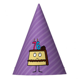 76th Birthday Cake with Candles Party Hat