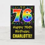 [ Thumbnail: 76th Birthday: Colorful Music Symbols + Rainbow 76 Card ]