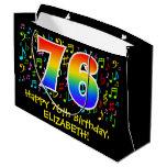 [ Thumbnail: 76th Birthday - Colorful Music Symbols, Rainbow 76 Gift Bag ]