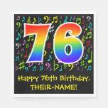 [ Thumbnail: 76th Birthday - Colorful Music Symbols, Rainbow 76 Napkins ]