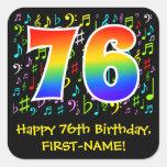 [ Thumbnail: 76th Birthday: Colorful Music Symbols, Rainbow 76 Sticker ]