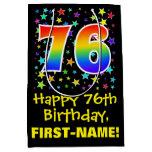[ Thumbnail: 76th Birthday: Colorful Stars Pattern & Rainbow 76 Gift Bag ]