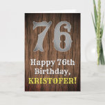 [ Thumbnail: 76th Birthday: Country Western Inspired Look, Name Card ]