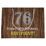 [ Thumbnail: 76th Birthday: Country Western Inspired Look, Name Gift Bag ]