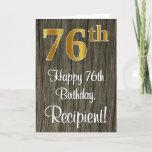 [ Thumbnail: 76th Birthday: Elegant Faux Gold Look #, Faux Wood Card ]
