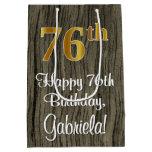 [ Thumbnail: 76th Birthday: Elegant Faux Gold Look #, Faux Wood Gift Bag ]