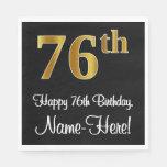 [ Thumbnail: 76th Birthday ~ Elegant Luxurious Faux Gold Look # Napkins ]