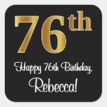 [ Thumbnail: 76th Birthday – Elegant Luxurious Faux Gold Look # Sticker ]