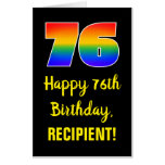 [ Thumbnail: 76th Birthday: Fun, Colorful, Happy, Rainbow # 76 Card ]