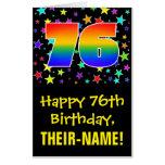 [ Thumbnail: 76th Birthday: Fun, Colorful Stars + Rainbow # 76 Card ]