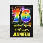 [ Thumbnail: 76th Birthday: Fun Fireworks Pattern + Rainbow 76 Card ]