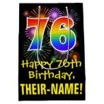 [ Thumbnail: 76th Birthday: Fun Fireworks Pattern + Rainbow 76 Gift Bag ]
