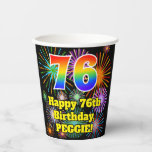 [ Thumbnail: 76th Birthday: Fun Fireworks Pattern + Rainbow 76 ]