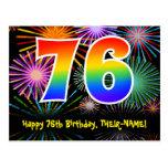 [ Thumbnail: 76th Birthday – Fun Fireworks Pattern + Rainbow 76 Postcard ]