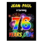 "[ Thumbnail: 76th Birthday - Fun Fireworks, Rainbow Look ""76"" Postcard ]"