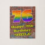 [ Thumbnail: 76th Birthday: Fun Graffiti-Inspired Rainbow 76 Jigsaw Puzzle ]