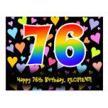 [ Thumbnail: 76th Birthday: Fun Hearts Pattern, Rainbow 76 Postcard ]