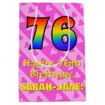 [ Thumbnail: 76th Birthday: Fun Pink Hearts Stripes; Rainbow 76 Gift Bag ]