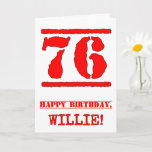 [ Thumbnail: 76th Birthday: Fun, Red Rubber Stamp Inspired Look Card ]