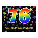 [ Thumbnail: 76th Birthday: Fun Stars Pattern, Rainbow 76, Name Postcard ]