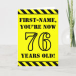 [ Thumbnail: 76th Birthday: Fun Stencil Style Text, Custom Name Card ]