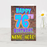 [ Thumbnail: 76th Birthday - Fun, Urban Graffiti Inspired Look Card ]