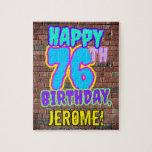 [ Thumbnail: 76th Birthday ~ Fun, Urban Graffiti Inspired Look Jigsaw Puzzle ]