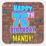 [ Thumbnail: 76th Birthday – Fun, Urban Graffiti Inspired Look Sticker ]