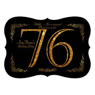 76th,Birthday party 76th,great Gatsby,black & gold Card