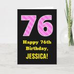 "[ Thumbnail: 76th Birthday: Pink Stripes and Hearts ""76"" + Name Card ]"