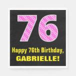 "[ Thumbnail: 76th Birthday: Pink Stripes and Hearts ""76"" + Name Napkins ]"