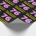"""[ Thumbnail: 76th Birthday: Pink Stripes and Hearts """"76"""" + Name Wrapping Paper ]"""
