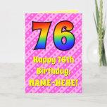 [ Thumbnail: 76th Birthday: Pink Stripes & Hearts, Rainbow # 76 Card ]