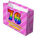 [ Thumbnail: 76th Birthday: Pink Stripes & Hearts, Rainbow # 76 Gift Bag ]