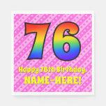 [ Thumbnail: 76th Birthday: Pink Stripes & Hearts, Rainbow # 76 Napkins ]