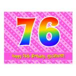 [ Thumbnail: 76th Birthday: Pink Stripes & Hearts, Rainbow 76 Postcard ]