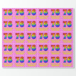 [ Thumbnail: 76th Birthday: Pink Stripes & Hearts, Rainbow # 76 Wrapping Paper ]