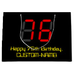 "[ Thumbnail: 76th Birthday: Red Digital Clock Style ""76"" + Name Gift Bag ]"
