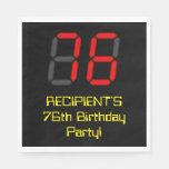 "[ Thumbnail: 76th Birthday: Red Digital Clock Style ""76"" + Name Napkins ]"