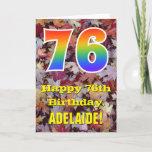 "[ Thumbnail: 76th Birthday; Rustic Autumn Leaves; Rainbow ""76"" Card ]"